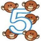 Five Little Monkeys Applique Embroidery Designs 5x7 Hoop