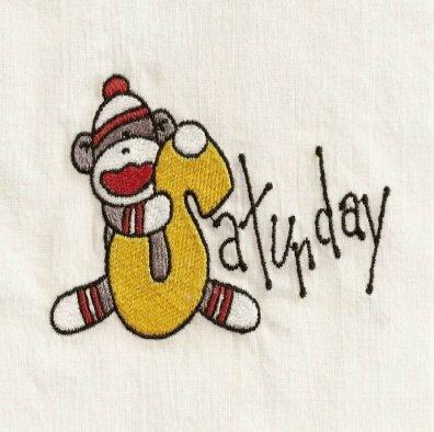 Days of the Week Sock Monkey Embroidery Designs 4x4 Hoop