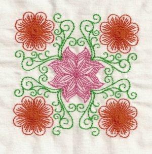 Multi Color Floral Blocks Embroidery Designs 5x7 Hoop
