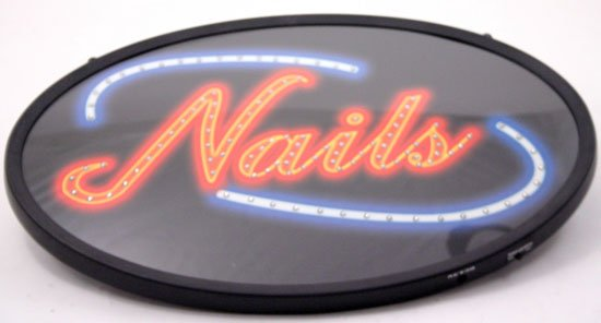 13 x 21 Neon Nails Sign and  Adaptor:Wall