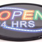 Brand New 13 x 21 Neon 24 Hours Open Sign w Adaptor