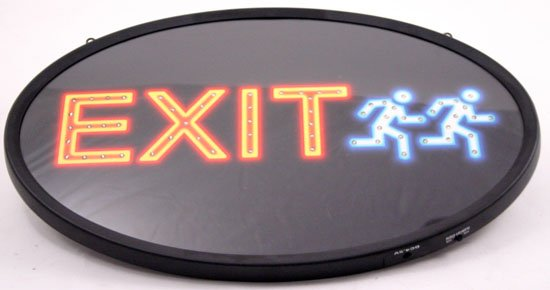 13 x 21 Neon Exit Sign w Power Adaptor