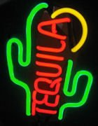 14 x 7.5 Neon Tequila Cactus Sign.