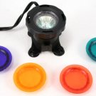 Submersible 12 Volt Spotlight w 4 Colored Lenses -Pond