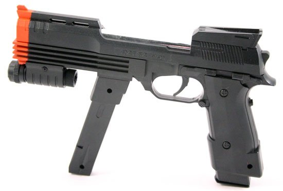 9in Air Soft Pistol w BlueLight -Qty2:Magazines