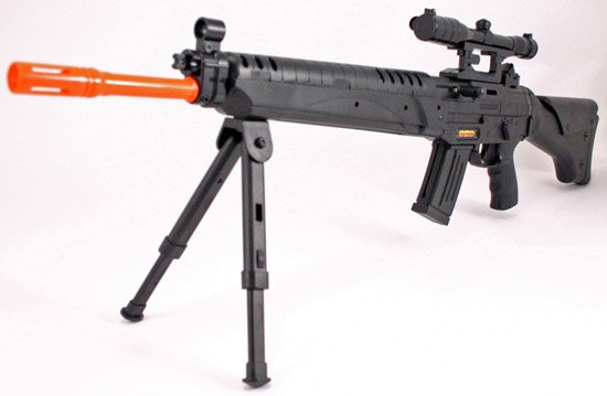 AS102  Airsoft Rifle w Bipod, Scope, Laser Sight ~