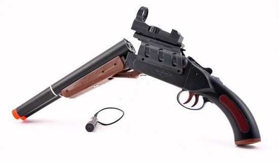 Double Barrel Trigger Cowboy Shotgun w Red Laser Site