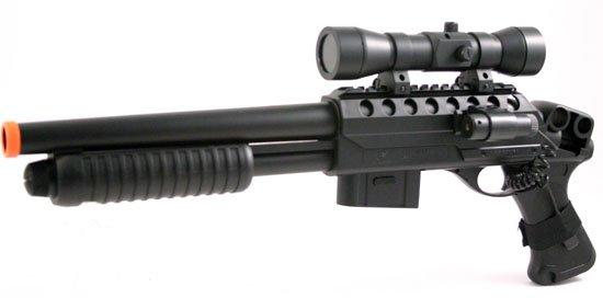 AS33: M47B Airsoft Pump Shotgun w/Scope, Light, Laser