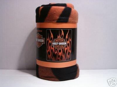 "50"" x 60"" Harley Davidson Orange Flames Fleece Blanket"