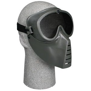 Team SD Stealth Tactical Airsoft Mask, Black w/Green Face Shield18.9