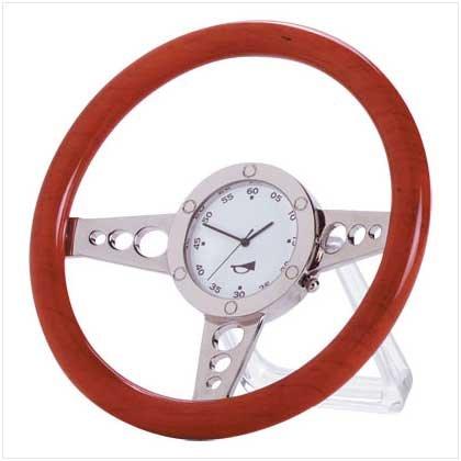 WOOD RACER STEERING WHEEL CLOCK