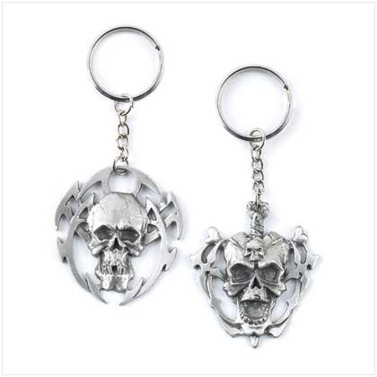 Pewter Skull Keychain Set
