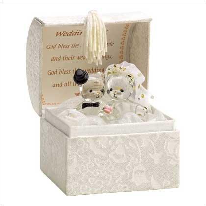 Wedding Bride and Grrom Bears Glass Figurine