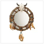 Bull Skull Head Mirror - Alabastrite