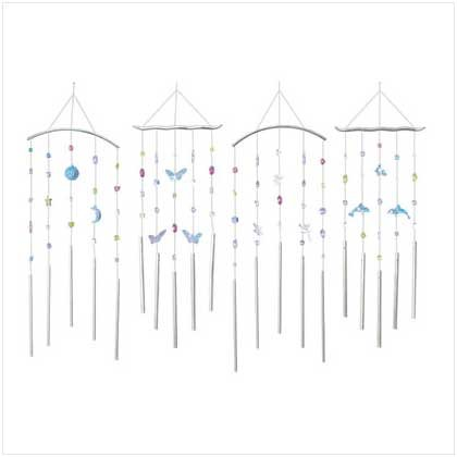 4Pk Assorted Color Ornament Chime