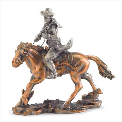 Pewter Cowboy on Horse