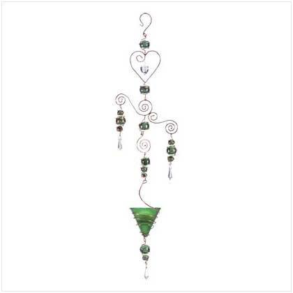 Green Art Glass Balls Candleholder