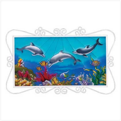 Painted Glass Dolphins Frame Plaque