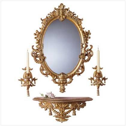 4Pc Baroque Mirror/Sconces/Shelf