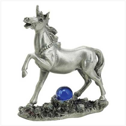 Pewter Unicorn with Glass Ball