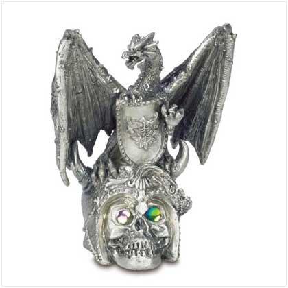 Pewter Dragon on Skull