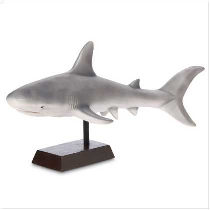 Ceramic Grey Shark Figurine on Base