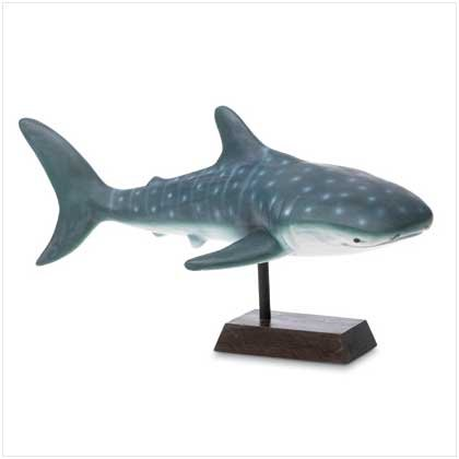 Ceramic Blue Shark Figurine on Base