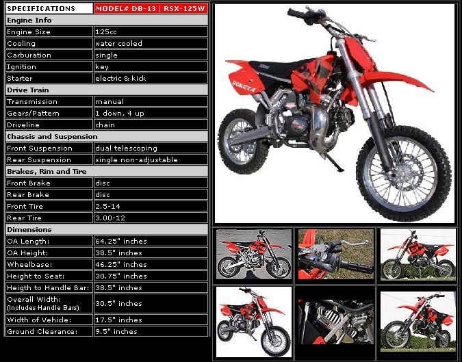 125cc - 4 Stroke Dirt Bike - Up to 37 MPH