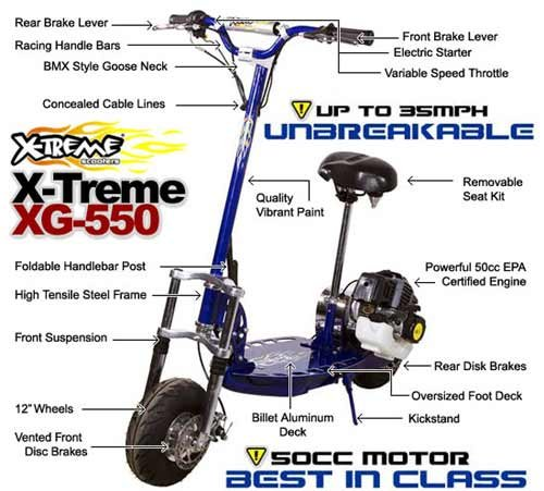 FAST Gas Scooter Model XG-550 (Includes EPA Certified Gas Engine)