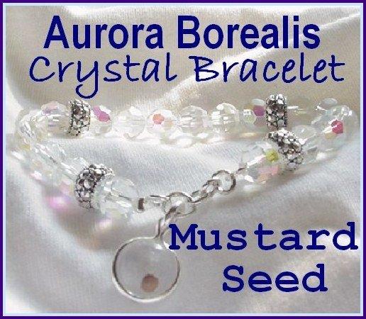 "Carols Accents"" Mustard Seed Charm Bracelet AB Crystal"