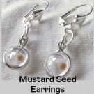 "Sterling Silver Mustard Seed ""Ball Charm"" Earrings Comfort Eurowires"
