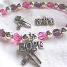 Breast Cancer Fund Raiser Awareness Hope Bracelet with Ribbon - set of 12 Bracelets