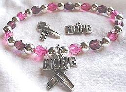 Breast Cancer Fund Raiser Awareness Hope Bracelet with Ribbon - set of 12 Bracelets