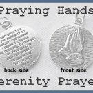 Affirmation Ladies Serenity Prayer,Praying Hands Necklace,Praying Hands Medallion Charm