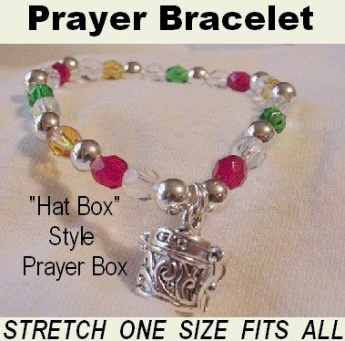 Colors Crystal Prayer Box Charm Bracelet with Gift Box