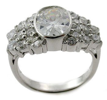 925 Silver With Created Diamond Ring