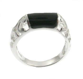 Black Onyx Cultural With 925 Silver Ring