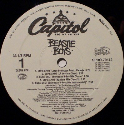 "Beastie Boys - Sure Shot (10 Mixes) - White Label Promo Only 12"" Vinyl Record - Rock"