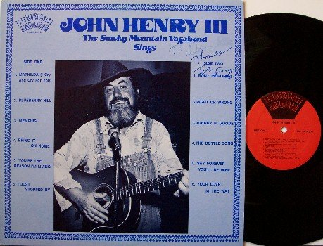 Henry III, John - Signed Vinyl LP Record - Uncle of Dolly Parton +her notes & photo - Country Blues