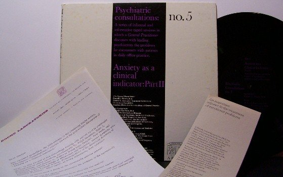"Psychiatric Consultations - Anxiety Disorder - 10"" Vinyl LP Record + Inserts - Medical Odd Unusual"