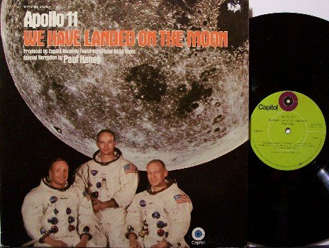 Apollo 11 We Have Landed On The Moon - Vinyl LP Record - Space Travel - Odd Unusual