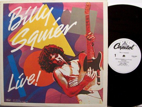Squier, Billy - Live! - Vinyl LP Record - White Label Promo Only Live - Rock