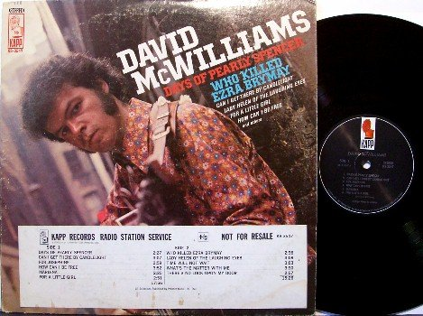 McWilliams, David - Days Of Pearly Spencer - Vinyl LP Record - Mc Williams - Folk Rock