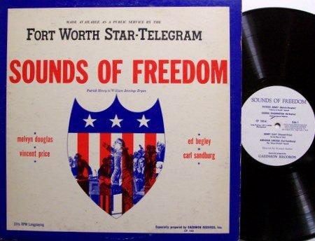 Sounds Of Freedom - Vincent Price / Carl Sandburg etc - Vinyl LP Record - Spoken Word