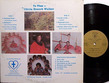 Walker, Olivia Branch - To Thee - Private Solna Label - Vinyl LP Record - Gospel
