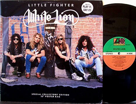 """White Lion - Little Fighter - Promo with Folder Poster Sleeve - Vinyl 12"""" Record - Glam Rock"""