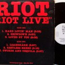 Riot - Riot Live - Promo Only - Vinyl Mini LP Record - Rock