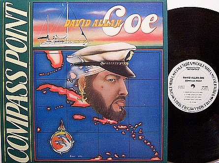 Coe, David Allan - Compass Point - Vinyl LP Record - White Label Promo - Allen - Country