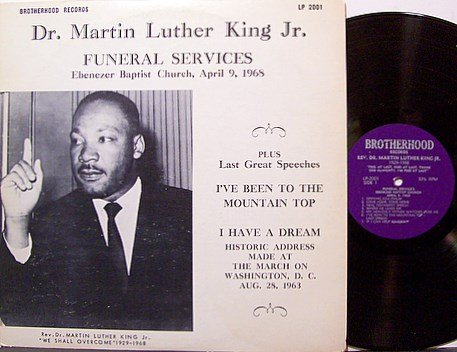 King Martin Luther Jr Funeral Services Vinyl Lp