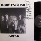 Body English - Speak - Signed - Vinyl LP Record - Rock